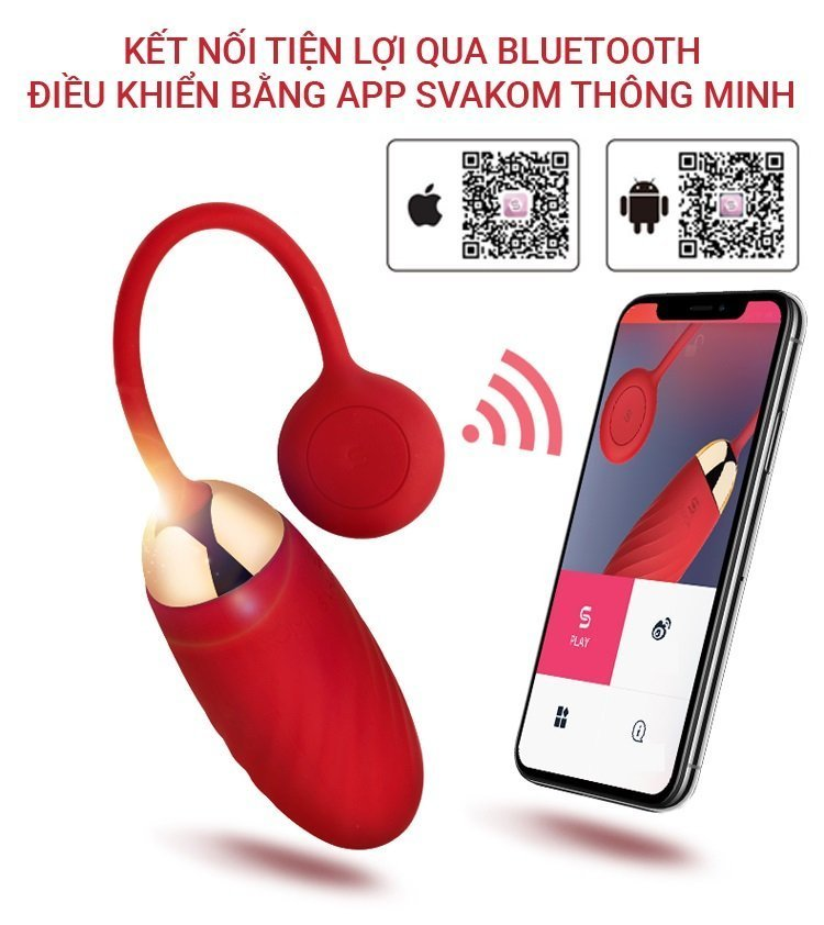 Trứng rung Svakom Ella kết nối smart phone còn có thể điều khiển qua bluetooth.