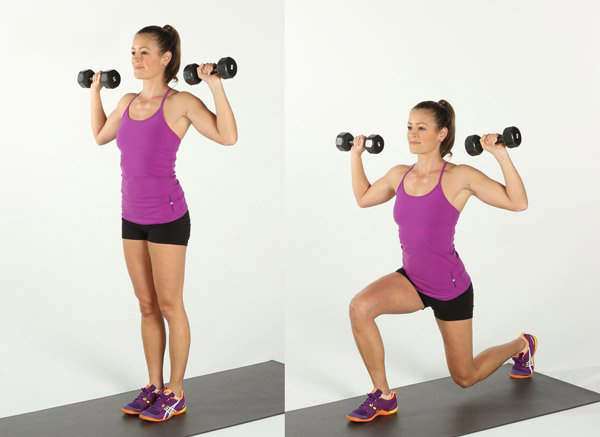 bài tập mông với đông tác lunges cho nữ